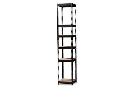 BH12-Black-Shelf Baxton Studio Gavin Modern and Contemporary Black Metal 5-Shelf Closet Storage Racking