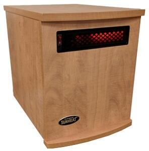 SUNHEAT Original USA Made Infrared Heater 1500 Watt Maple Finish
