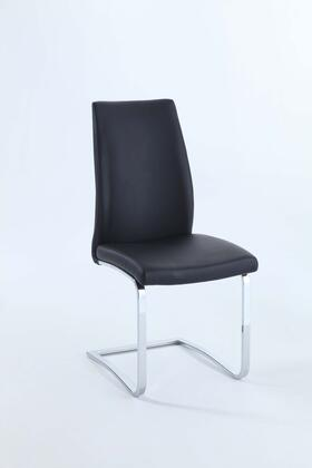Paisley Collection PAISLEY-SC-BLK Side Chair with Concave-Back   Black PU Leather Upholstery and Metal Frame in Chrome