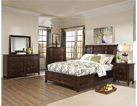 JK-BR-5050K-RAI-C King Size Bed with Solid Wood Construction and Tapered Legs in Raisin