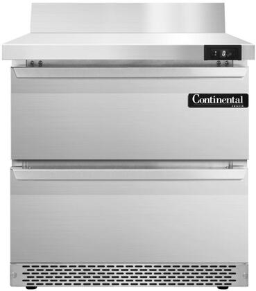 SWF32BSFBD 32 inch  Worktop Freezer with 2 Drawers  6 inch  Backsplash  7.4 Cu. Ft. Capacity  Front Breathing Compressor  Aluminum Interior  Interior Hanging Thermometer