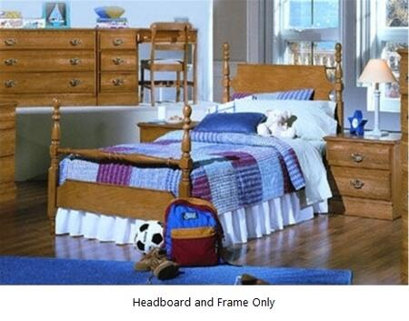 Carolina Oak 237230-982000-79091 63 inch  Twin Sized Bed with Metal Frame and Poster Headboard in Golden