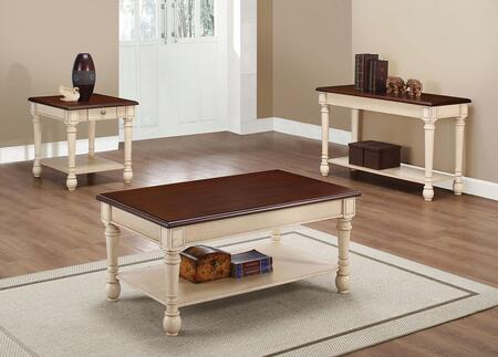 704418-S3 3-Piece Living Room Table Set with Coffee Table  End Table and Sofa Table in Dark Cherry and Antique White