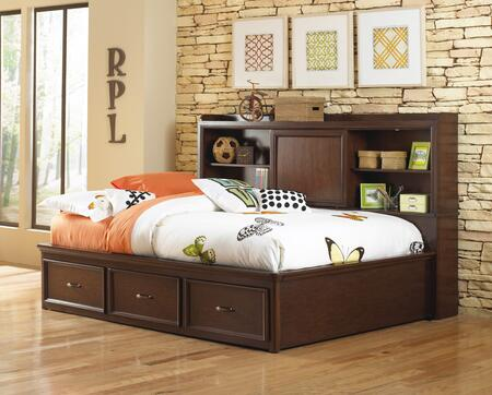 Expedition 846874042 Full Size Lounge Bed with 3 Adjustable Shelves  3 Drawers  Sliding Door  Accent Lights  Selected Veneers and Hardwood Solids Construction
