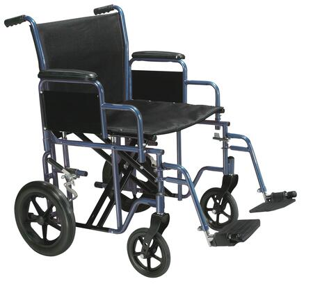 btr22-b Bariatric Heavy Duty Transport Wheelchair With Swing Away Footrest  22 Seat