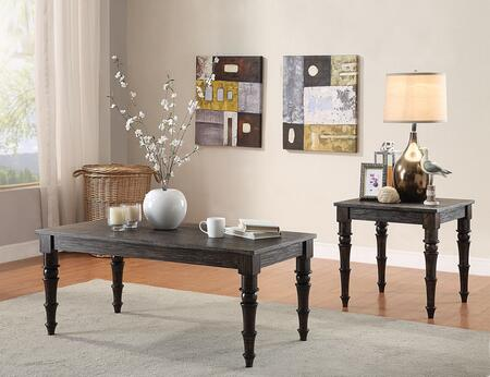 Kami 81614CE 2 PC Living Room Table Set with Coffee Table + End Table in Antique Black