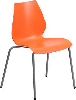 RUT-288-ORANGE-GG HERCULES Series 770 lb. Capacity Orange Stack Chair with Lumbar Support and Silver