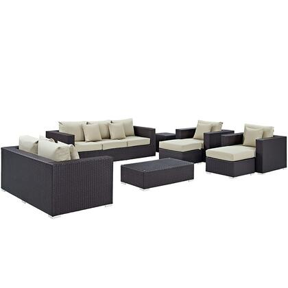 Convene Collection EEI-2161-EXP-BEI-SET 9-Piece Outdoor Patio Sofa Set with Rectangle Ottoman  Loveseat  Sofa  2 Armchairs  2 Ottomans and 2 Side Tables in