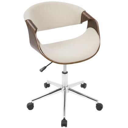 OFC-CURVO WL+CR Curvo Mid-Century Modern Office Chair in Walnut and