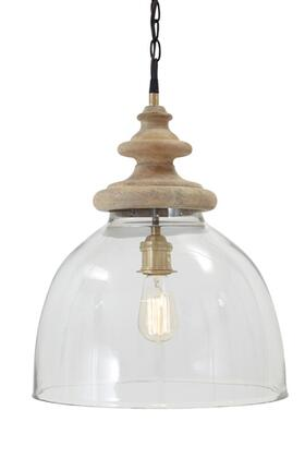 Farica L000138 Glass Pendant Light with Turned Wood Finial Crowns  Hanging Chain  and a Casual