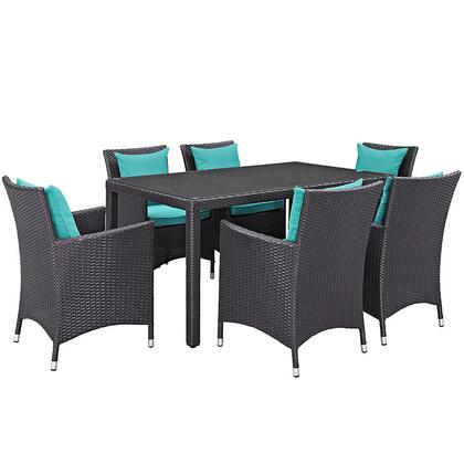 Convene Collection Eei-2241-exp-trq-set 7 Pc Outdoor Patio Dining Set With Powder Coated Aluminum Frame  All-weather Fabric Cushions And Synthetic Rattan Weave