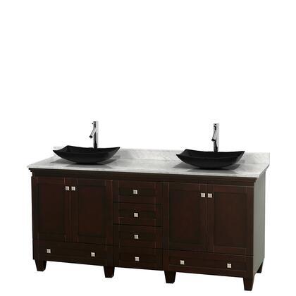 Wcv800072descmgs4mxx 72 In. Double Bathroom Vanity In Espresso  White Carrera Marble Countertop  Arista Black Granite Sinks  And No