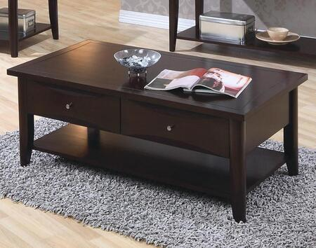700968 Whitehall Coffee Table with Lower Shelf  Two Storage Drawers  Smooth Tops  Straight Edges and Metal Knobs in Cappuccino