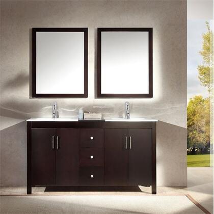 K060DESP Ariel Hanson 60 inch  Double Sink Vanity Set with Black Granite Middle Countertop  Block Feet  and Simple Pulls in