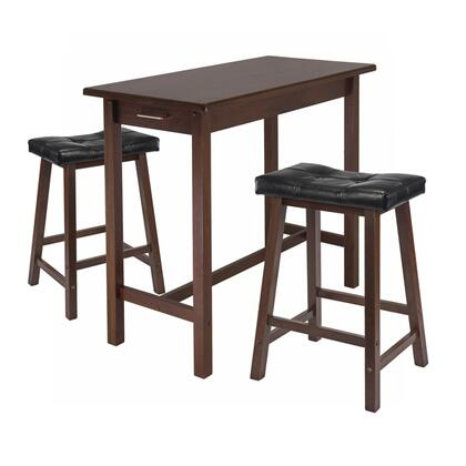 94304 3-pc Kitchen Island Table With 2 Cushion Saddle Seat