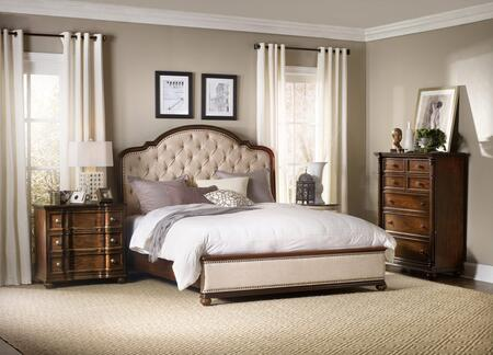 5381-90966KBBCC 3-Piece Leesburg Collection Bedroom Set with King Size Bed + Bachelor Chest + Drawer Chest  in