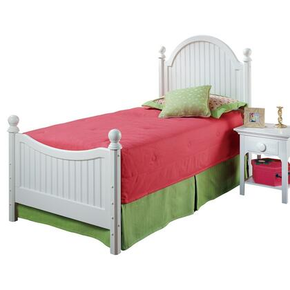 1354BTWR Westfield Twin Size Poster Bed Set with Sculpted Feet  Curved Headboard  Rails Included and Wood Construction in Off White