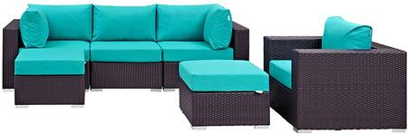 Convene Collection EEI-2207-EXP-TRQ-SET 6 PC Outdoor Patio Sectional Set with Powder Coated Aluminum Frame  Waterproof Nonwoven Fabric Inner Cover and