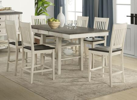 Huron Collection HURCOGT6SBS 7-Piece Dining Room Set with Gather Height Leg Table and 6x Slatback Barstools in Distressed Cocoa and Chalk