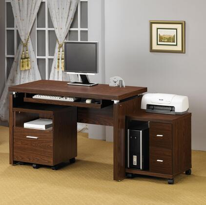 Peel 800831DS 2 PC Office Furniture with Computer Desk + Computer (CPU) Stand in Brown
