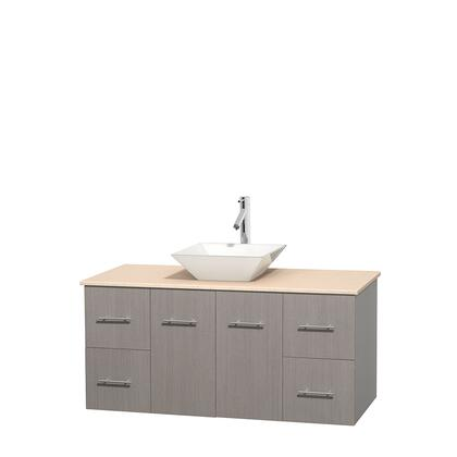 Wcvw00948sgoivd2wmxx 48 In. Single Bathroom Vanity In Gray Oak  Ivory Marble Countertop  Pyra White Porcelain Sink  And No