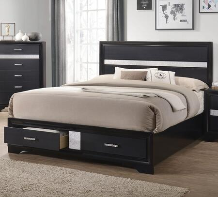 Miranda Collection 206361KW California King Size Storage Bed with 2 Footboard Drawers  Rhinestone Adorned Pulls  Clean Line Design  Tall Headboard and Low