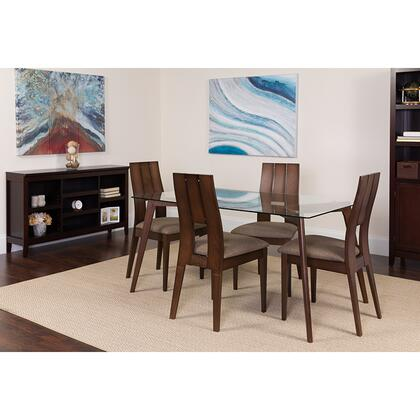 ES-116-GG Rialto 5 Piece Espresso Wood Dining Table Set With Glass Top And Curved Slat Keyhole Back Wood Dining Chairs - Padded Seats 39