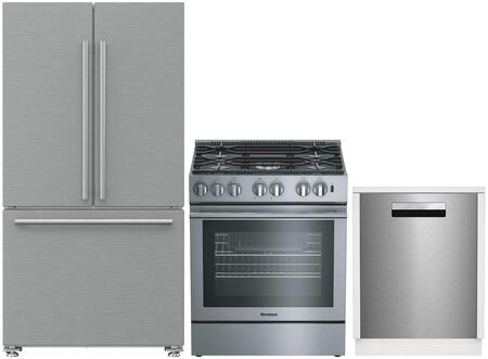 3-Piece Kitchen Package with BRFD2230SS 36 inch  French Door Refrigerator  BGRP34520SS 30 inch  Freestanding Gas Range  and DW25502SS 24 inch  Built In Full Console