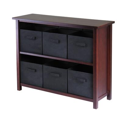 94291 Verona 2-Section W Storage Shelf in Walnut with 6 Foldable Black Fabric