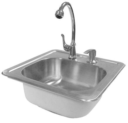 BBQ11963 Sink with Faucet  Deep Bowl  and Built-In Soap Dispenser  in Stainless