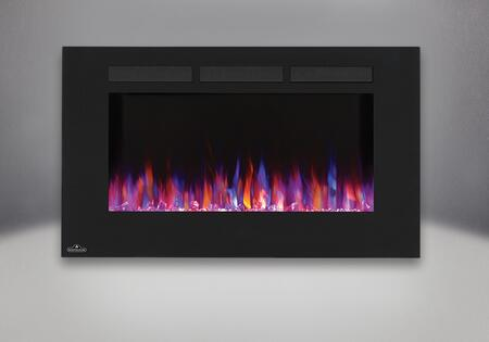 """Allure NEFL42FH 42"""" Linear Wall Mount Electric Fireplace with Glass Front  Front Vents  Clear Glass Embers and Heater with Up to 5 000 BTUs in"""