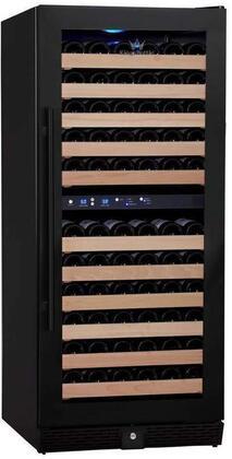 KBU-100D-FG 24 inch  2 Temperature Zones Wine Cooler with 106 Bottle Capacity  Warp Resistant Beech Wood Shelves and Door Lock: Glass Door in