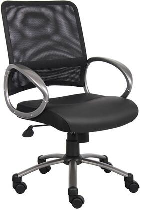 "B6406 39"" Task Chair with Mesh Back  Loop Arms  Adjustable Tilt Tension Control  Gas Lift Height Adjustment  Metal Base and Hooded Double Wheel Caters in"