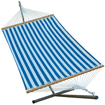 6290W88B Single Fabric Hammock and Frame Combination with Steel and Polyester in Blue and white
