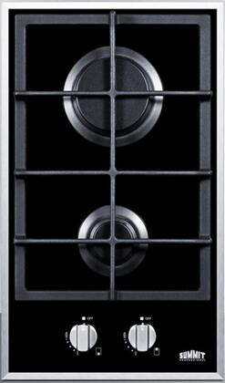 GC2BGL 12 Gas Cooktop with 2 Sealed Burners  Continuous Cast Iron Grate  Electronic Ignition and Smooth Black Ceramic Glass