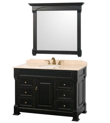 WCVTS48BLIV 48 in. Single Bathroom Vanity in  Antique Black with Ivory Marble Top with White Undermount Sink and 44 in.