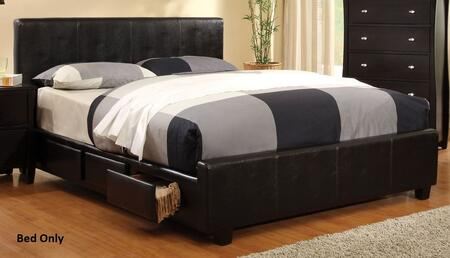 Burlington Collection CM7009F-BED Full Size Platform Bed with 6 Drawers  Leatherette Upholstery and Solid Wood Construction in Espresso