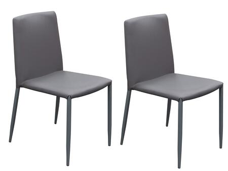 """Carbon_CARBONDCGR2_Set_of_2_33""""_Stackable_Dining_Chairs_with_Leatherette_Upholstery_and_Tapered_Metal_Legs_in_Grey"""