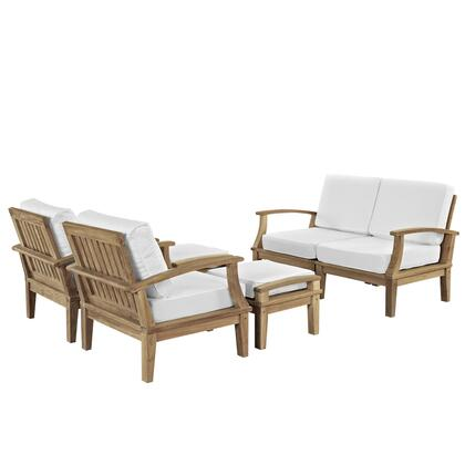 Marina Collection EEI-1597-NAT-WHI-SET 6 Piece Outdoor Patio Sofa Set with Solid Teak Wood Construction  Machine Washable Covers  Water and UV Resistant