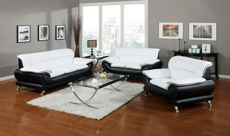 Orel Collection 50455SLCT 5 PC Living Room Set with Sofa + Loveseat + Chair + Coffee Table + End Table in Black and White