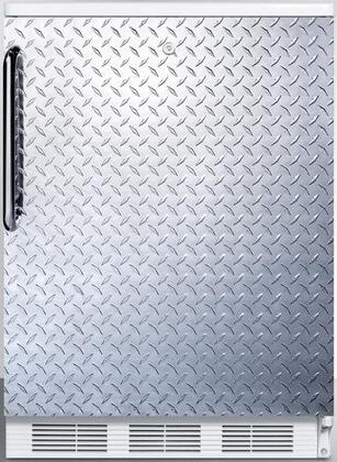 FF6L7DPL 24 inch  Commercially listed freestanding all-refrigerator for general purpose use  auto defrost w/lock  diamond plate wrapped door  towel bar handle and