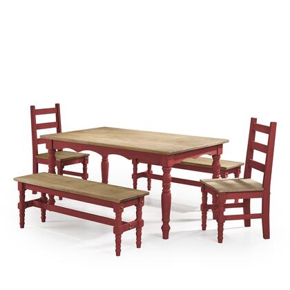 CSJ203 Jay 5-Piece Solid Wood Dining Set with 2 Benches  2 Chairs  and 1 Table in Red