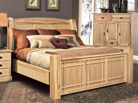 AHINT5170 Amish Highlands Arch Panel Bed Decorated with Clean Simple Lines  Constructed from Solid Hickory  and Coated in 20% Catalyzed Sheen in Natural Finish