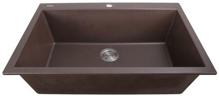 Plymouth Collection PR3322-DM-BR 33 inch  Dual-Mount Granite Composite Sink with Heat Resistant Design  Sound Absorbing Material and Non-Porous Surface in