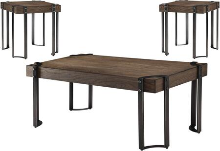 Gilda Collection 84570 3 PC Living Room Table Set with Metal Industrial Legs  Black Powder Coating  Wooden Top and Elm Wood Veneer Materials in Weathered Dark