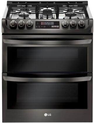 LTG4715BD Slide-In Gas Range with Double Ovens  ProBake  Self EasyClean  and 6.9 cu. ft. Capacity  in Black Stainless