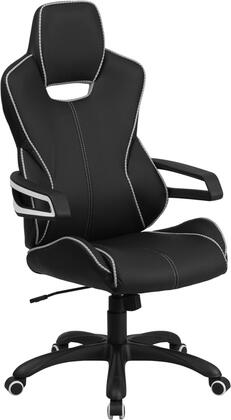 CH-CX0699H01-GG High Back Black Vinyl Executive Swivel Office Chair with White