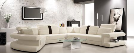 VGEV6123 Divani Casa Sectional Sofa with 3 Headrests  Left Facing Chaise and Bonded Leather Upholstery in White with Black