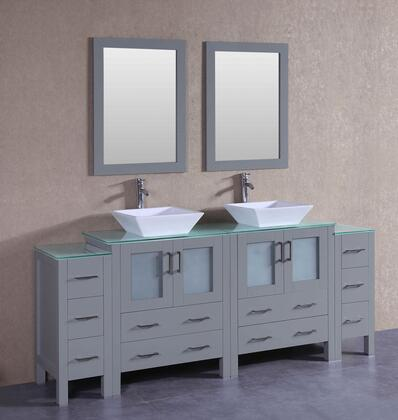 AGR230SQCWG2S 84 inch  Double Vanity with Clear Tempered Glass Top  Flared Square White Ceramic Vessel Sink  F-S02 Faucet  Mirror  4 Doors and 10 Drawers in