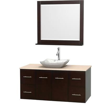 Wcvw00948sesivgs3m36 48 In. Single Bathroom Vanity In Espresso  Ivory Marble Countertop  Avalon White Carrera Marble Sink  And 36 In.